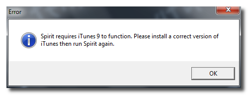 spirit requires itunes 9