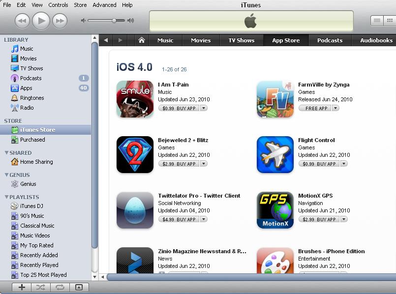 App Store iOS 4 Apps