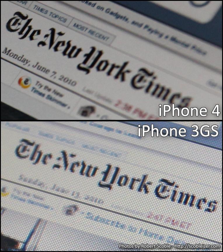iPhone 4 vs iPhone 3GS Screen