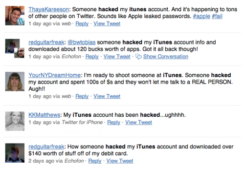 Hacked App Store Account