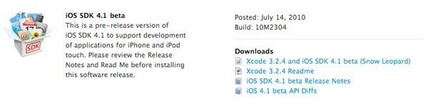 iOS 4.1 SDK Beta