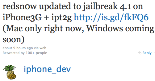 RedSn0w 0 9 6 Beta 1 Jailbreak for iPhone 3G IOS 4 1 Released