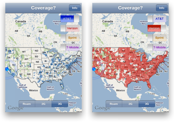 Check Out Nationwide Cellular Coverage Map With \'Coverage\' for iPhone