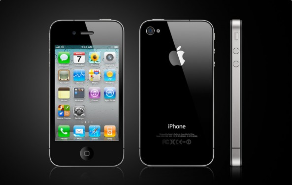 Front, back, and side views of iPhone 4 in black