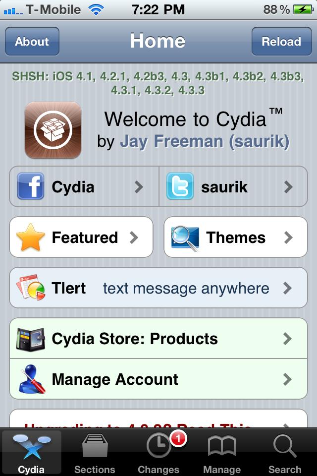 Cydia Now Showing iOS 4 3 3 SHSH Blobs