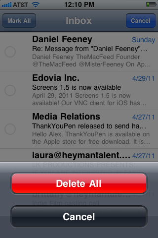 how to delete multiple emails on an iphone 5