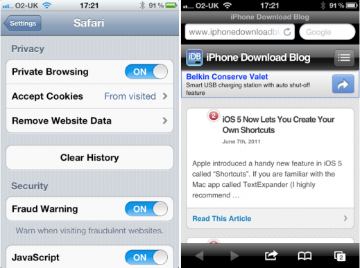 where is private browsing on iphone mobile safari gets browsing mode in ios 5 7006
