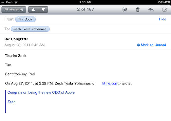 New Apple CEO Tim Cook Responds to Emails Like Steve Jobs