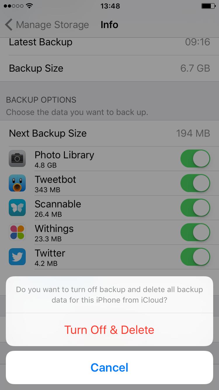 turn off delete iCloud storage