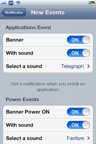 Notificator' allows you to customize iOS system events with banners
