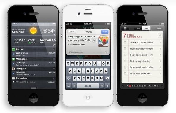 iPhone 4S (three up, Stocks, Siri, Reminders)