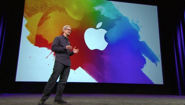 Apple event 20120307 (iPAd 3 unveiling, Tim Cook, colorful background, Apple logo)