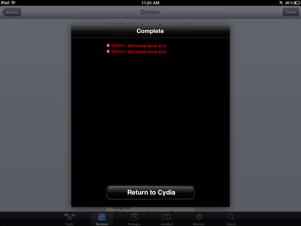 Cydia reporting HTTP/1 1 500 Internal Server Error