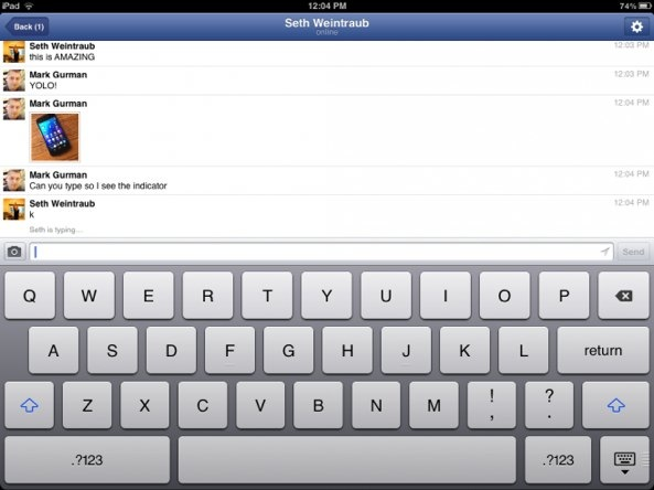 Facebook Messenger (iPad screenshot 002)