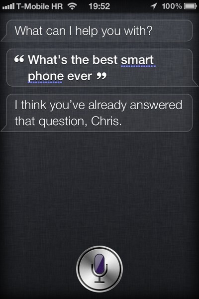 Siri new response to best smartphone ever question