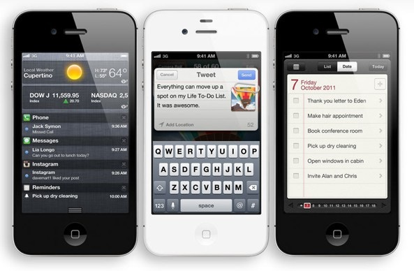 iPhone 4S (three-up, Weather, Reminders, Twitter).