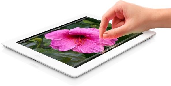iPad 3 (flat, photos, hand, pinch zoom)