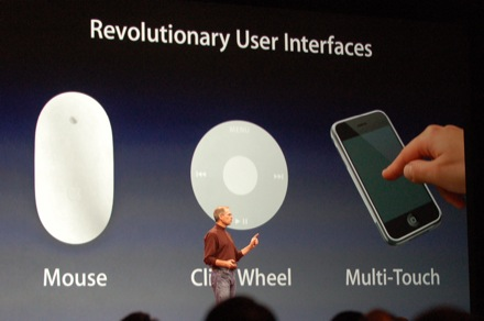 January 2007 iPhone introduction (Clickwheel, mouse and multitouch slide)