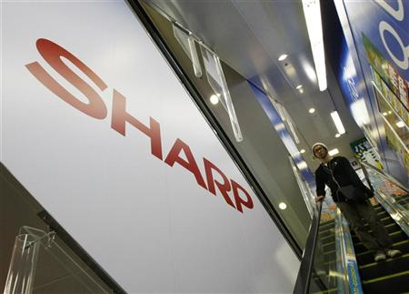Sharp's logo is seen at an electronic shop in Tokyo