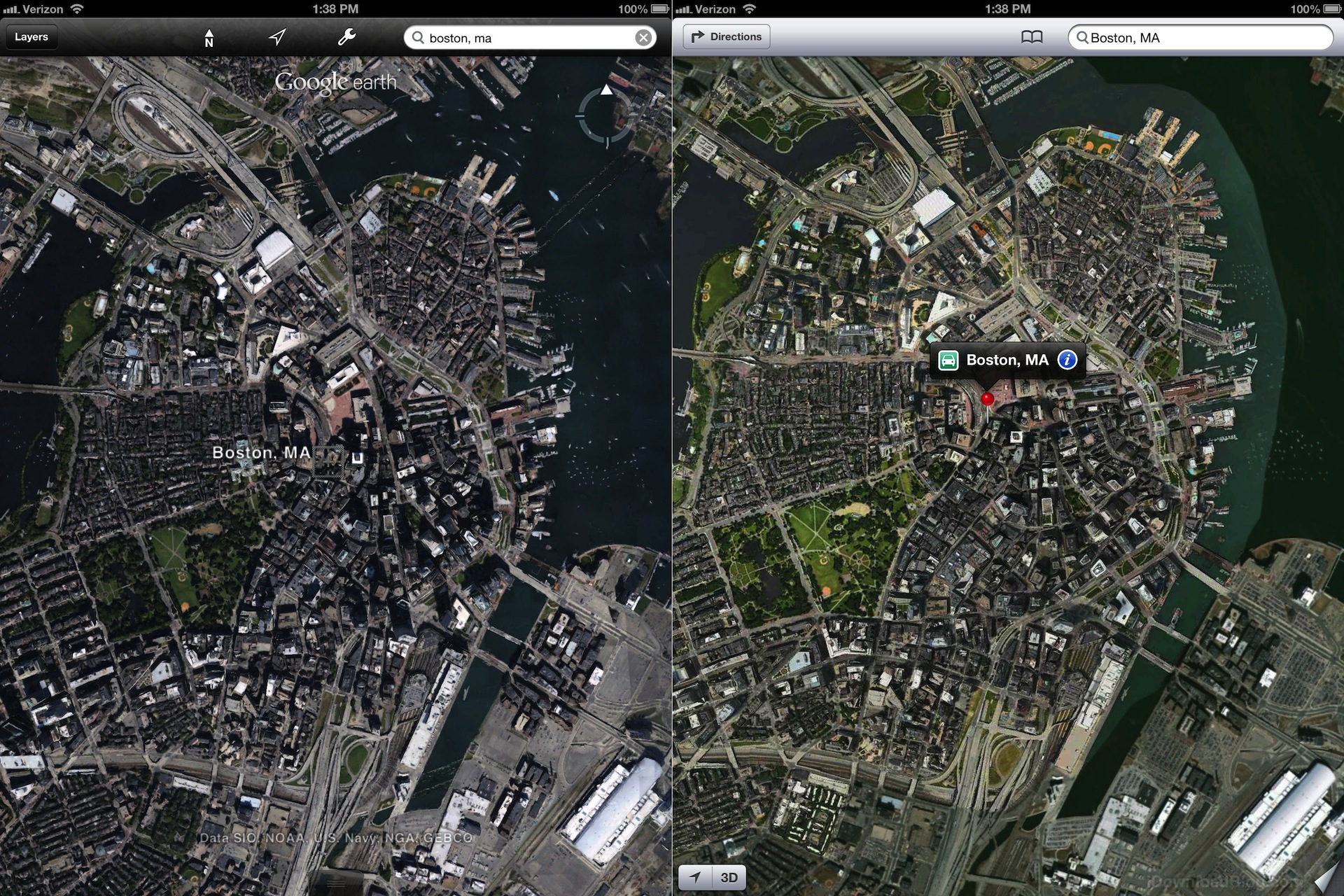 Apple\'s 3D maps look much better than Google\'s