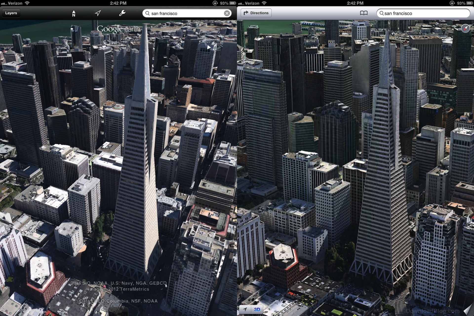 Apple's 3D maps look much better than Google's on