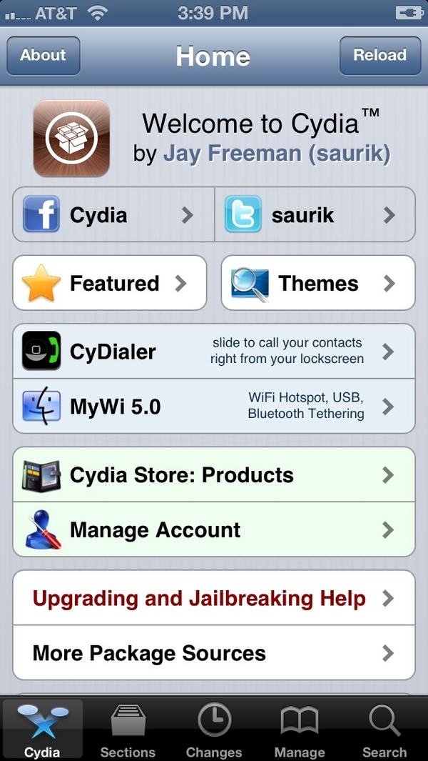 Cydia Homepage iPhone 5