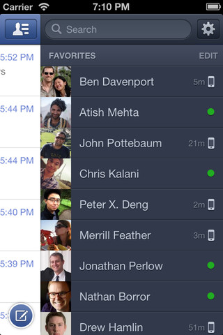 Facebok Messenger for iOS 2.0 (iPhone screenshot 003)