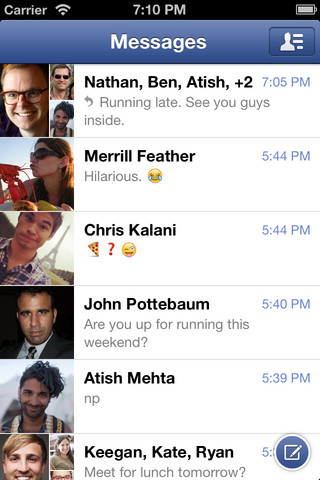 Facebok Messenger for iOS 2.0 (iPhone screenshot 004)