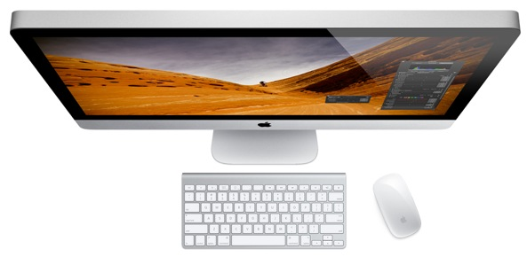 iMac (top view, wireless keyboard and mouse)