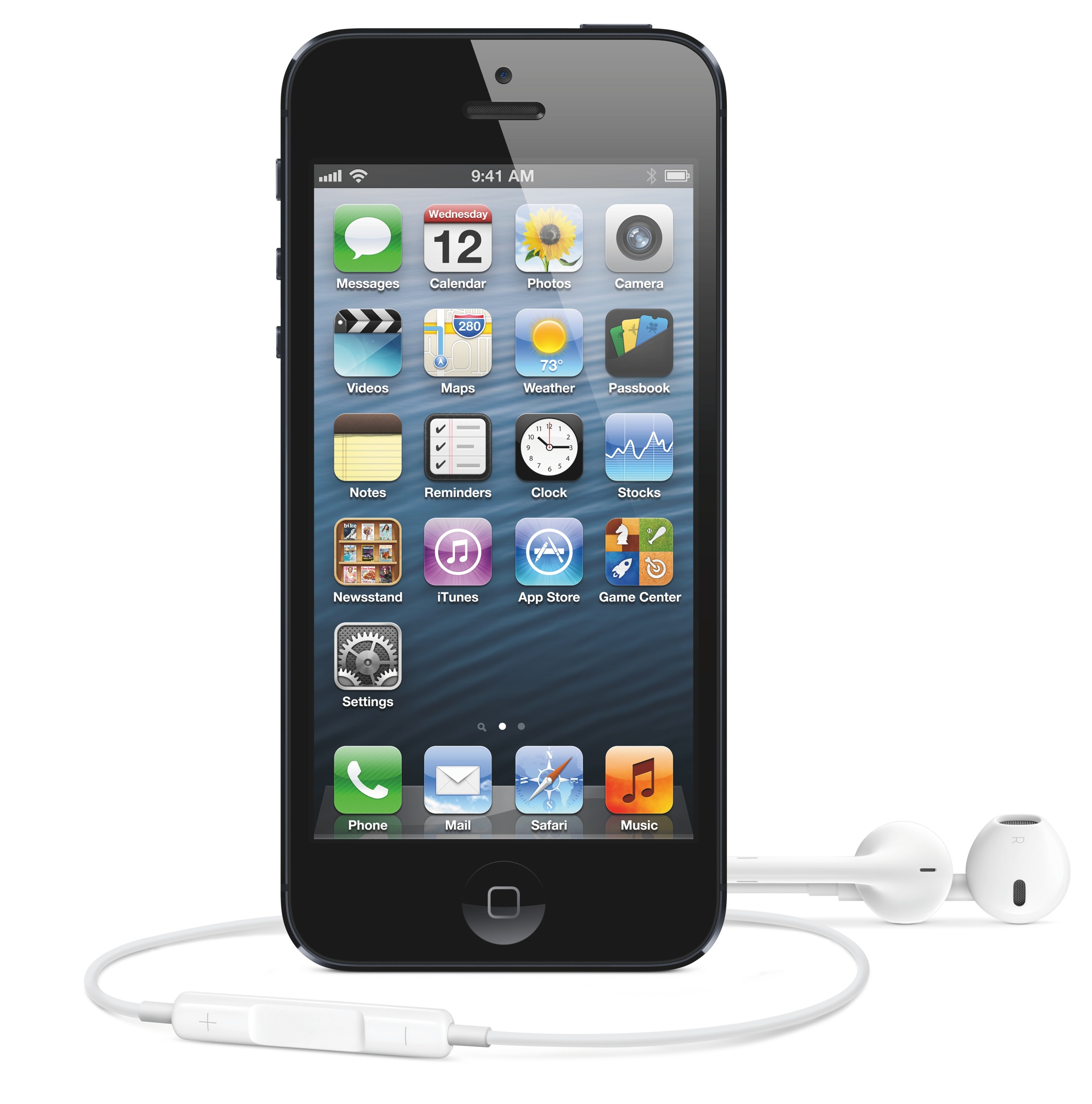 iPhone 5 (black, front, EarPods)