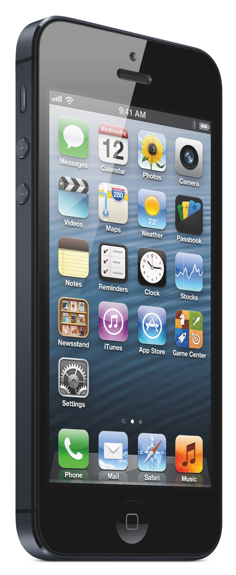 iPhone 5 (black, front, left angled)