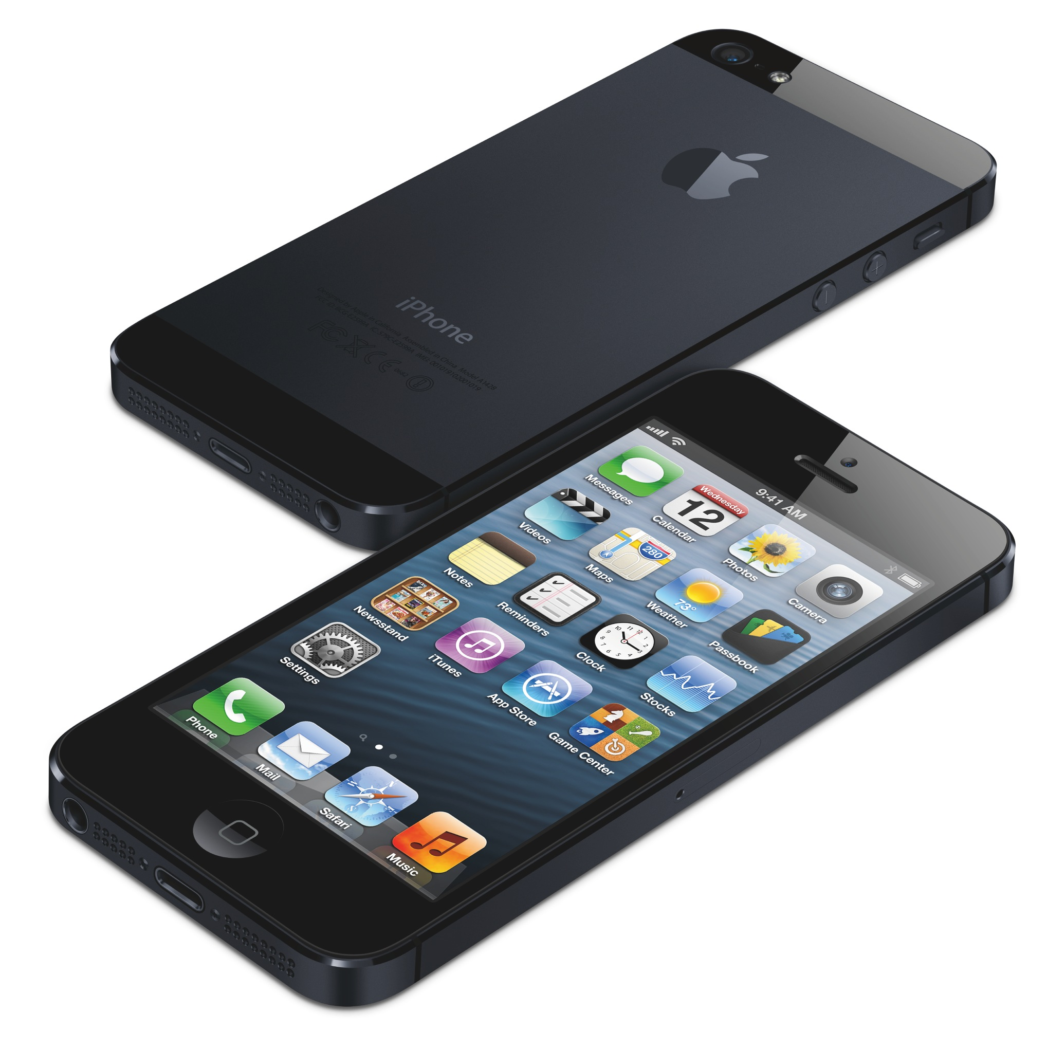iPhone 5 (two-up, front, back, flat)