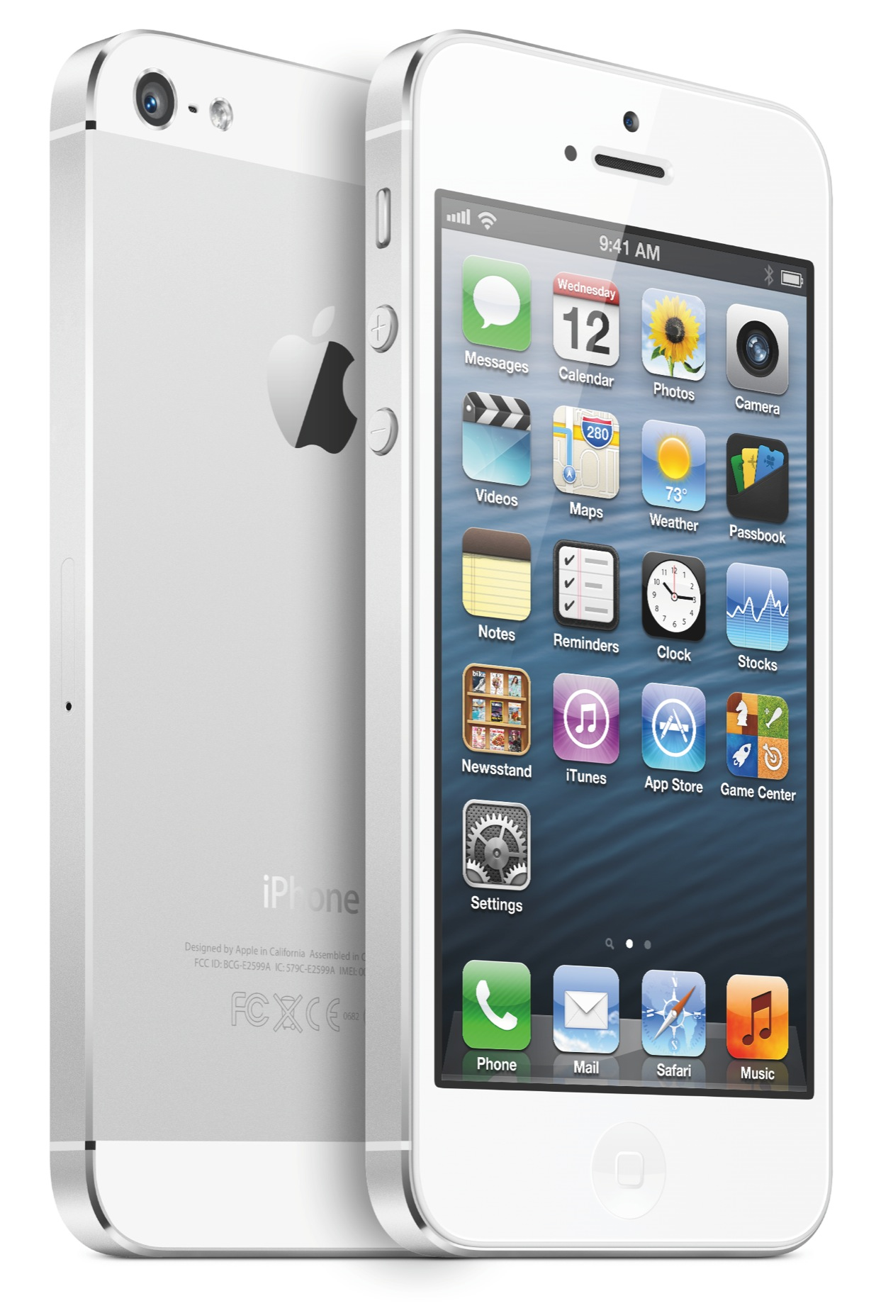 iPhone 5 (two-up, white, front, back, left-angled)