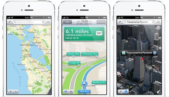 iPhone 5 (white, three-up, Maps)