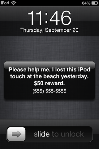 iPod touch Find My iPhone Lost Mode