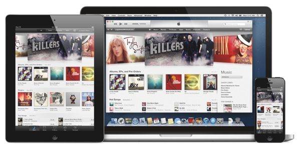 iTunes 11 (three up, MacBook, iPhone, iPad)