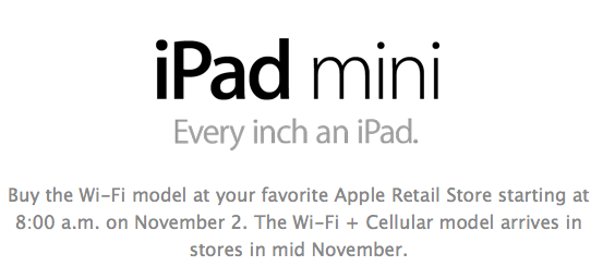 Ipad mini availability