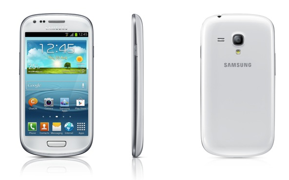 Samsung Galaxy S III Mini (three up, front, back, profile)
