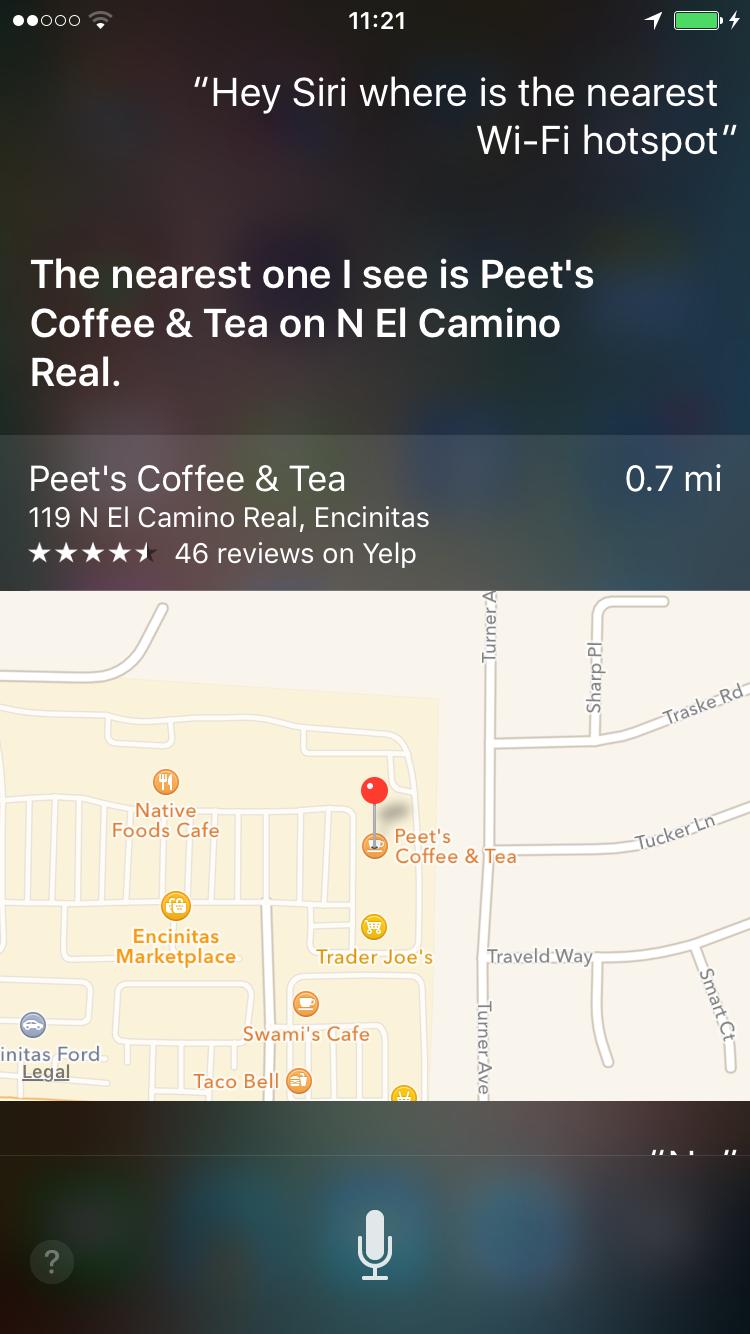 Siri near wifi hotspot