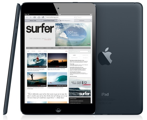 iPad mini (three-up, front, back, profile, black)