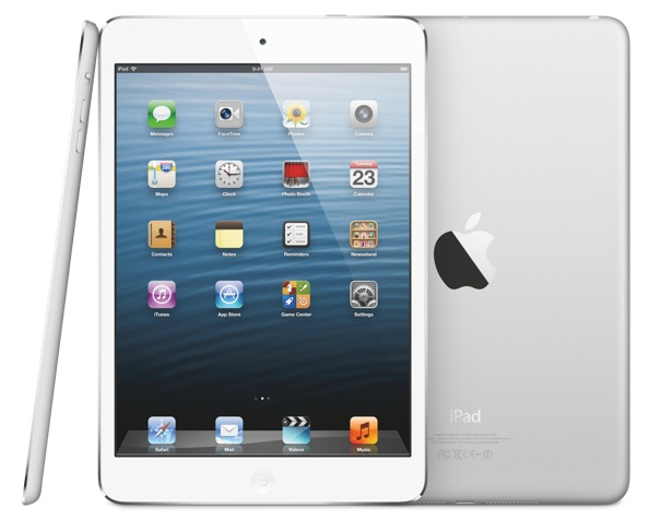 iPad mini (three-up, front, back, profile, white)