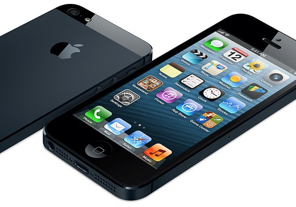 iPhone 5 (black, two-up, flat, front, back)