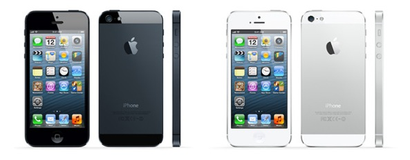 iPhone 5 (three-up, profile, front, back, black and white)