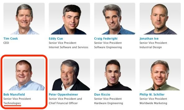 Apple Leadership page (Bob Mansfield, SVP of Technologies)