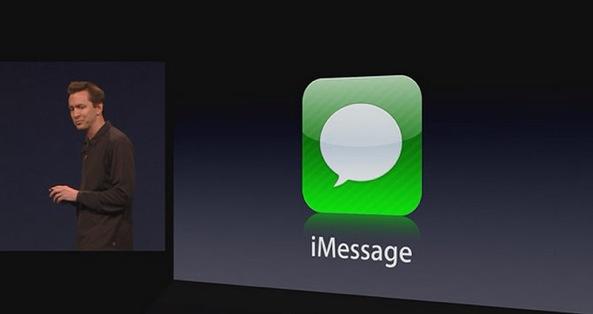 WWDC 2011 keynote (Scott Forstall, iMessage logo slide)