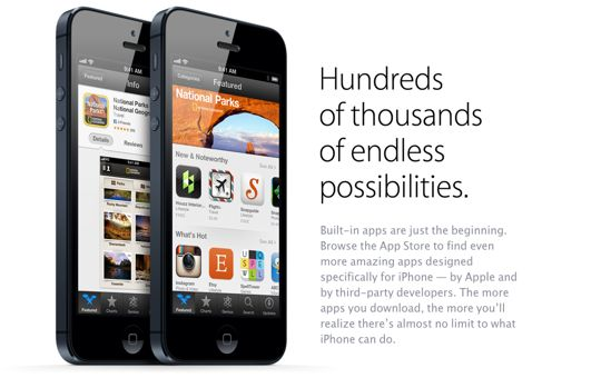 iPhone 5 (App Store teaser, hunderds of thousands of endless possibilities)