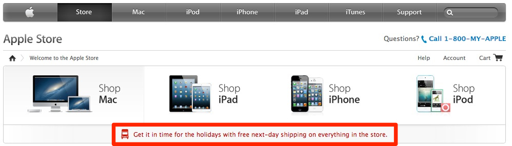 Apple Store free shipping everything