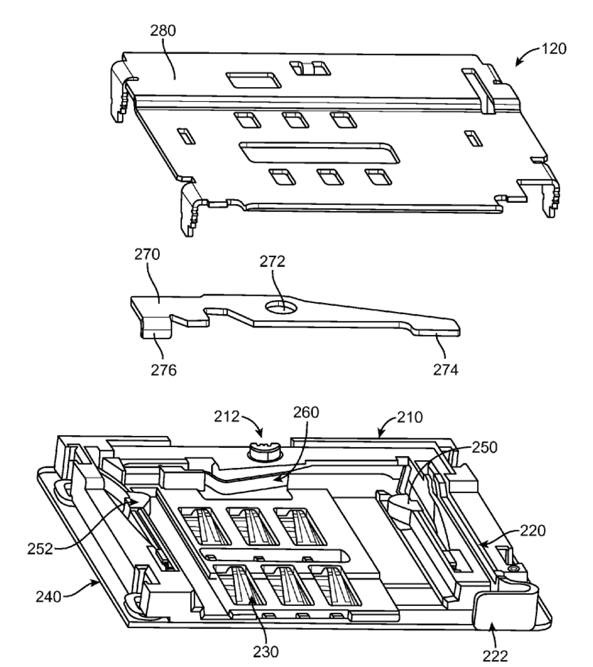 Apple patent (Mini-sim connector, drawing 001)