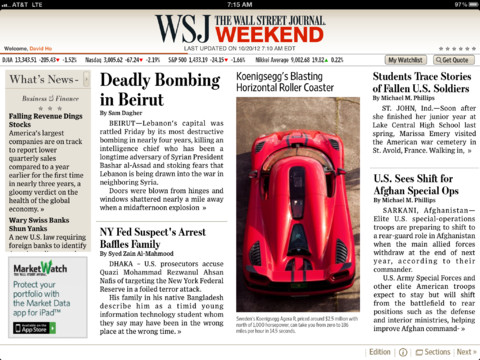 WSJ 5.0 for iOS (iPad screenshot 001)