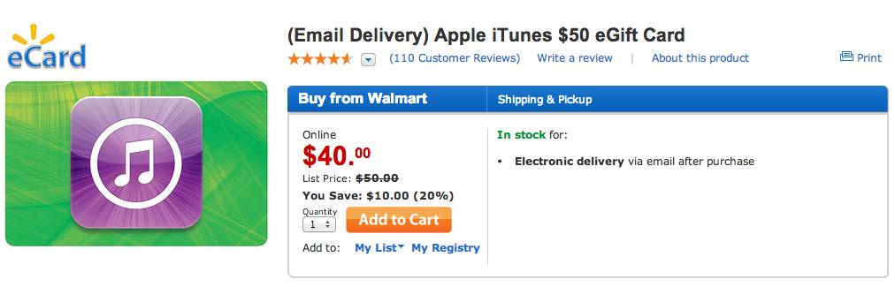 graphic relating to Printable Itunes Gift Card named Walmart marketing $50 iTunes Present Playing cards for $40 with quick